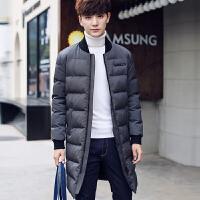 棉衣男士中长款棒球领冬季外套韩版修身袄子加厚保暖潮流新款