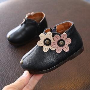 女儿童棉靴子2018冬新款韩版花朵公主靴小童女宝宝短靴1-3岁