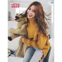 韩都衣舍2019春装新款女装韩版宽松红色长袖毛衣针织衫GW9725.�i