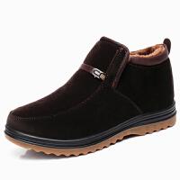 冬款男士加绒保暖中老年爸爸棉靴老北京布鞋男棉鞋牛筋底加厚真皮