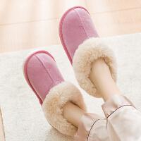全包跟月子棉拖鞋女冬季皮拖鞋居家居加绒室内家用男保暖防滑冬天