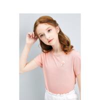 【89元3件:29.6】夏上新笛莎童装女童上衣2021夏季新款中大童儿童小女孩洋气印花短袖T恤