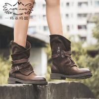 玛菲玛图玛菲玛图重工军靴子女秋冬款新款中筒靴百搭复古皮带扣马丁靴5751-2