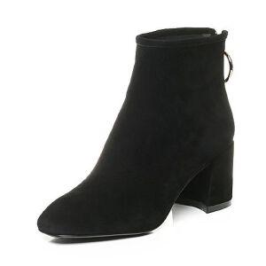 Belle/百丽2017冬时尚羊绒皮女短靴51388DD7