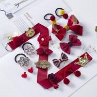 韩版皇冠儿童发饰发夹公主卡头花头饰女童宝宝皮筋套装 酒红色 B款-18件套