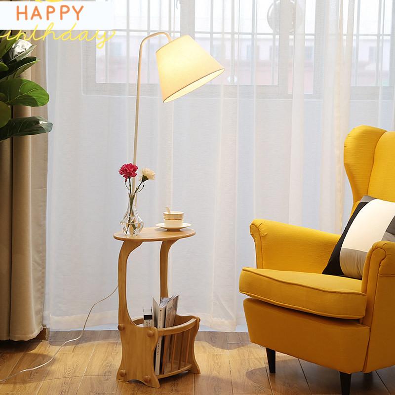 【支持礼品卡】北欧落地灯客厅卧室书房简约现代创意置物沙发边几灯立式落地灯4hh 橡木茶几 北欧风格 置物好帮手