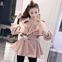 妮子大衣女中长款韩范2017新款短款粉色呢子收腰小个子毛呢外套潮