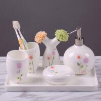 浴室用品套件肥皂碟洗漱牙刷口杯具套装卫浴五件套