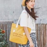 帆布包女单肩马卡龙糖果色韩版小清新学院风文艺百搭学生手提包