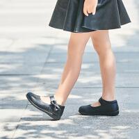 拥抱熊女童皮鞋儿童表演出鞋花童鞋学生软底黑色单鞋礼仪鞋校鞋 黑色
