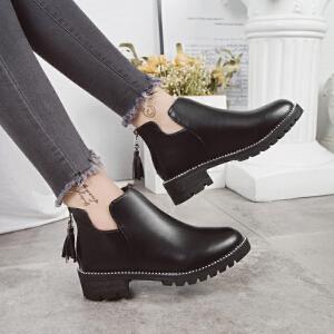 女式 秋冬新款短靴女韩版切尔西粗跟圆头马丁靴女时尚短靴