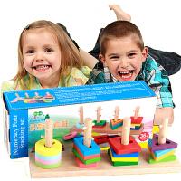 【满79领券立减10】儿童木制识数四套柱早教益智几何形状认知积木多彩颜色认知组合套装玩具