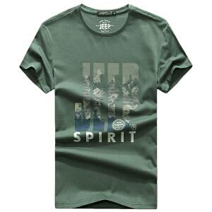 2018夏装新款吉普JEEP纯棉圆领短袖T恤衫 704070大码宽松polo衫男