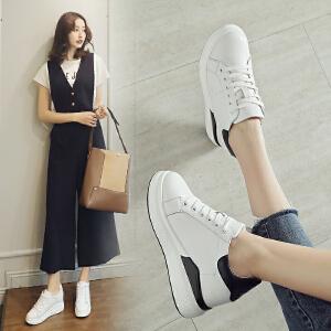 ZHR2018秋季新款韩版街拍小白鞋厚底休闲鞋女内增高单鞋真皮女鞋