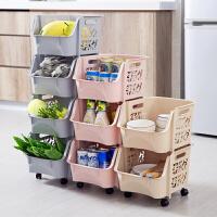 带滚轮收纳筐塑料玩具收纳篮厨房可叠加零食蔬菜浴室置物架收纳框
