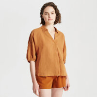【1件2.5折到手价:117.3】MECITY女装夏新品剪刀V领宽松苎麻短袖衬衫