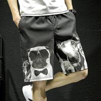夏季休闲短裤男士加肥加大码韩版宽松五分裤潮流胖子沙滩裤男裤子 黑色