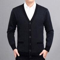 秋冬中老年人男士开衫加厚加绒羊毛衫大码针织衫中年爸爸毛衣外套