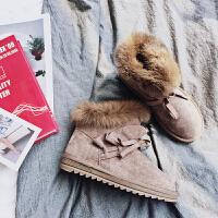 户外雪地短靴女冬短筒韩版百搭学生皮毛一体2018新款反季加绒厚底