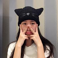 韩国秋冬可爱萌猫咪耳朵毛线帽软妹帽女手工针织情侣保暖帽森
