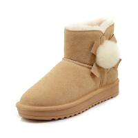 WARORWAR新品YG29-S18-X23冬季欧美磨砂反绒牛皮真皮皮毛一体低底舒适女士雪地靴