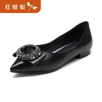 金粉世家红蜻蜓旗下 春季新品平底鞋真皮浅口蝴蝶低跟通勤单鞋