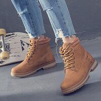 马丁靴 女士冬季韩版短靴2020新款单里大码马丁靴女皮靴系带靴子女鞋子