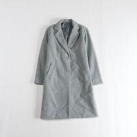 女秋冬中长款毛呢外套 西装领直筒百搭灰色大衣1C