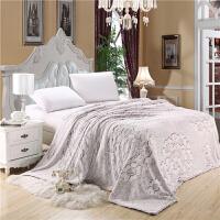 家纺春秋加厚毛毯双层纯色雕花双人夏凉毯子床单法莱珊瑚绒 默认规格