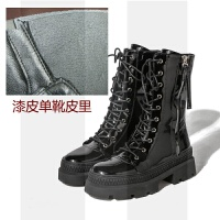 马丁靴女英伦厚底皮面防水机车靴秋冬中筒靴加绒短靴漆皮女靴SN4553