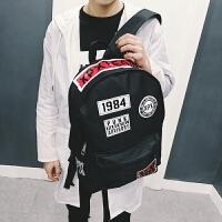 大中学生时尚涂鸦印花双肩包青少年帆布书包男韩版背包休闲旅行包