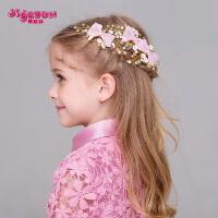 花童配饰女童头饰儿童发饰手工蝴蝶结软陶花朵发夹边夹饰品