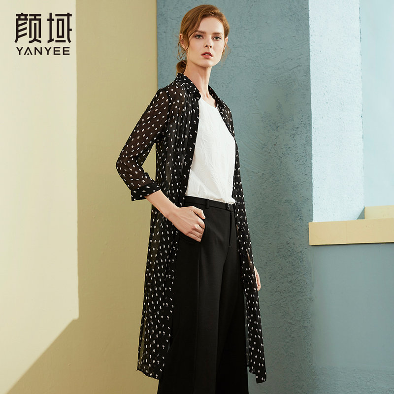 颜域品牌女装2018春秋季新款长袖薄开衫中长款雪纺衫波点衬衫外套