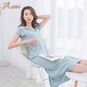 顶瓜瓜睡裙女夏季纯棉优雅纯色宽松含胸垫透气家居裙2018春夏新款