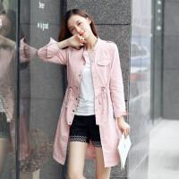 2018春季韩版新款修身刺绣风衣女中长款收腰过膝气质大衣外套 粉色