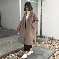 中长款毛呢外套女冬装新款纯西装领长袖韩版复古b宽松呢子大衣