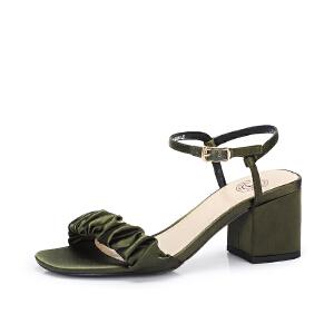 骆驼女鞋2018夏季新款 时尚优雅真丝布摩登粗高跟港味凉鞋女chic