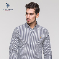 U.S. POLO ASSN.长袖衬衫男2018新款棉质商务休闲男条纹帅气衬衣