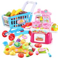 贝恩施儿童女孩购物车玩具 过家家超市推车宝宝迷你厨房玩具套装