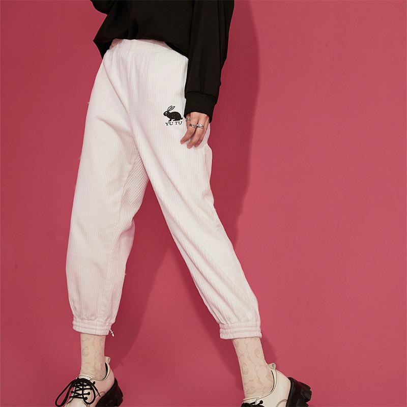 【2件2折后到手价:129】【新款】妖精的口袋灯芯绒复古裤子女2020秋冬宽松白色显瘦直筒裤