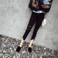 黑色破洞打底裤女夏薄款小脚裤紧身韩版乞丐修身弹力九分魔术裤潮 黑色