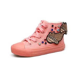 比比我女童白色帆布鞋2017春秋新款儿童帆布鞋女贴布高帮透气休闲鞋潮 防滑橡胶鞋底