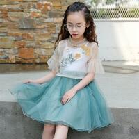 夏装新品中国风两件套唐装裙古风汉服儿童舞蹈服裙