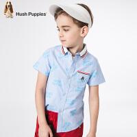 【3件3折:99元】暇步士童装夏季新款男童短袖衬衫时尚小清新撞色短袖衬衫儿童短袖衬衫