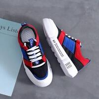 小白鞋女秋季2018新款百搭皮面韩版学生帆布鞋板鞋加绒运动鞋冬季 布面黑色 鞋码偏小
