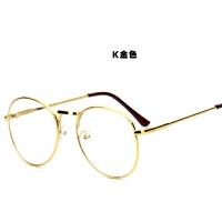 韩国金属眼镜框平光镜男潮文艺个性女韩版复古原宿无度数装饰眼镜 金色 K金色