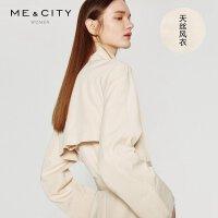 【5.16-5.17日抢购价:149.9】莱赛尔天丝MECITY女新款气质中长款系带风衣外套