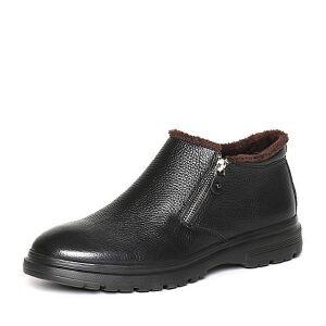 Belle/百丽冬季专柜同款黑牛皮革男皮靴(绒里)4PU01DD6