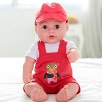 儿童仿真娃娃软硅胶重生婴儿宝宝会说话唱歌的智能洋娃娃女孩玩具 大号 男 吊带红熊(55声)