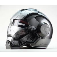 个性摩托车头盔男女610钢铁侠复古全盔越野机车战争版灰 亮灰色